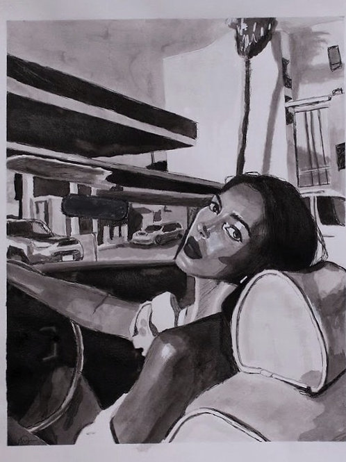 "Original 9""x12"" Ink Wash Study"