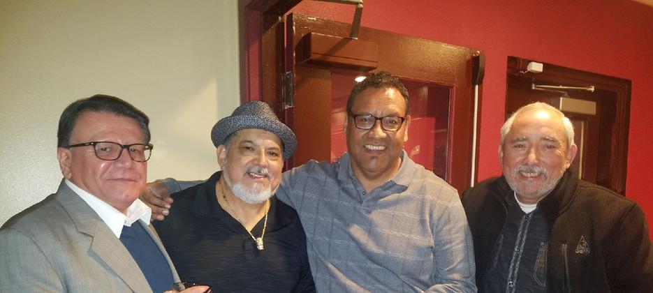 L-R with Enrique Soto, Poncho Sanchez and Hector Resendez