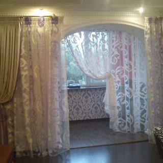 Декоративные + рабочие шторы + тюль