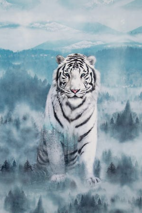 Ice Blue Siberian Tiger Quilt Panel