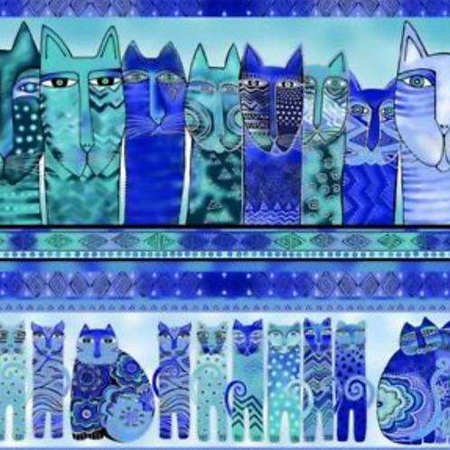 Feline Frolic - Blue Metallic - Border