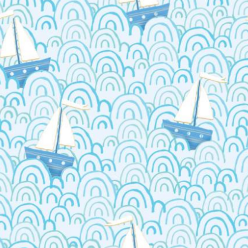 Itty Bittys Children's Flannel - Tossed Sailboats