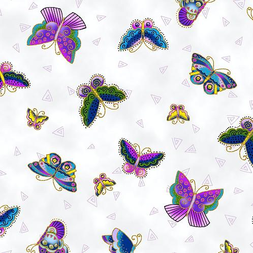 Feline Frolic - White w/Metallic Butterflies