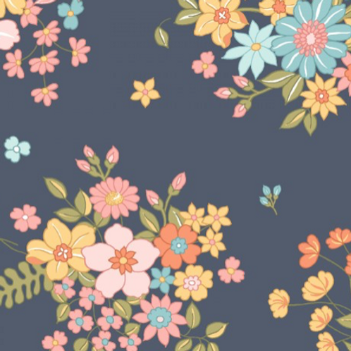 Sunlit Blooms - Navy Small Floral Bunch