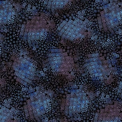 Feline Frolic - Blue Metallic Squares