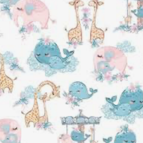 Mommy Me - Flannel - White w/Whales & Giraffes