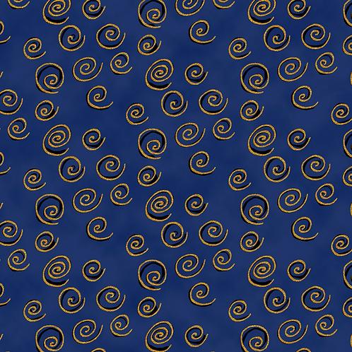 Feline Frolic - Blue w/Metallic Swirls