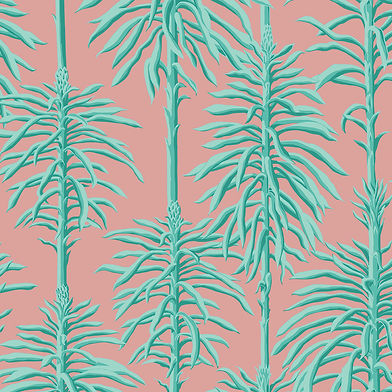 Handprinted wallpaper design featuring green plants against a pink background