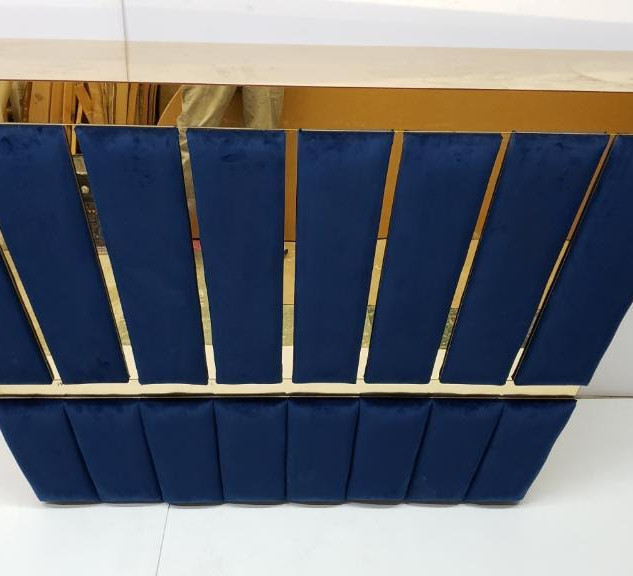 Navy blue/gold tufted bar with shelfs 6ft