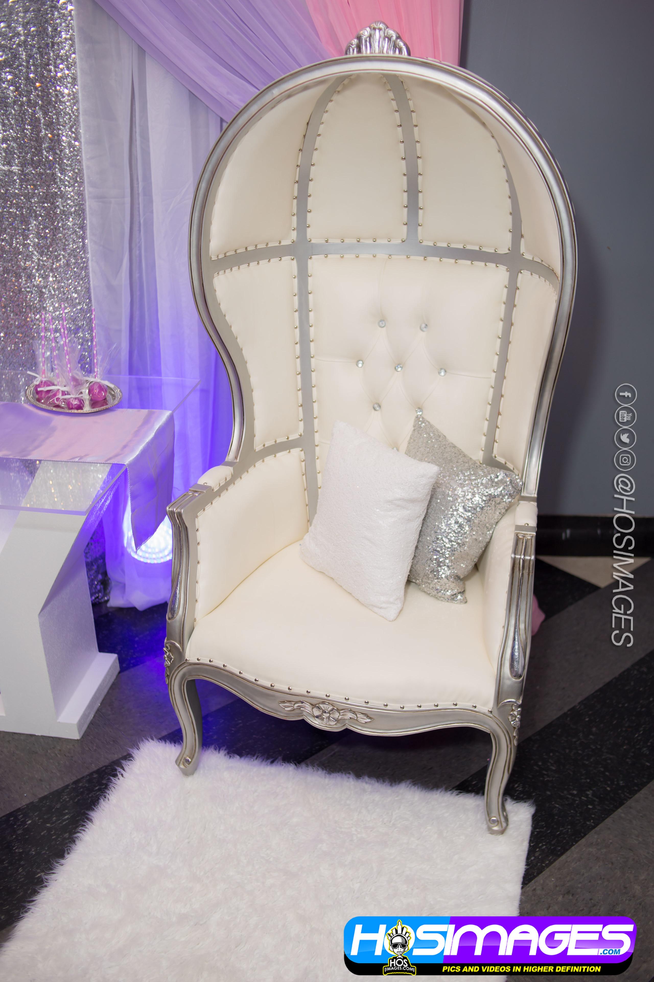 Silver & White Dome Chair