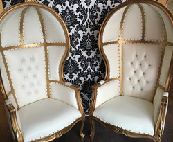 White & Gold Dome Chairs