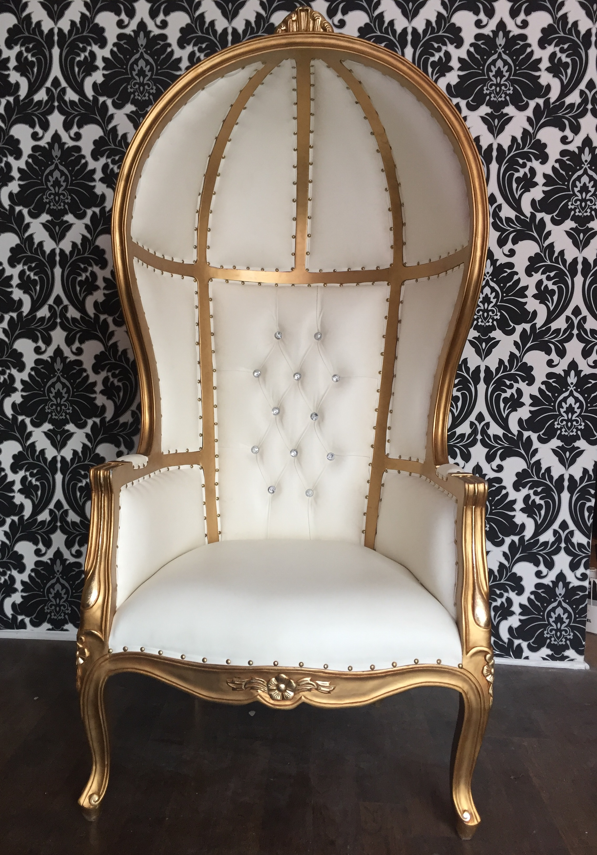 White & Gold Dome Chair