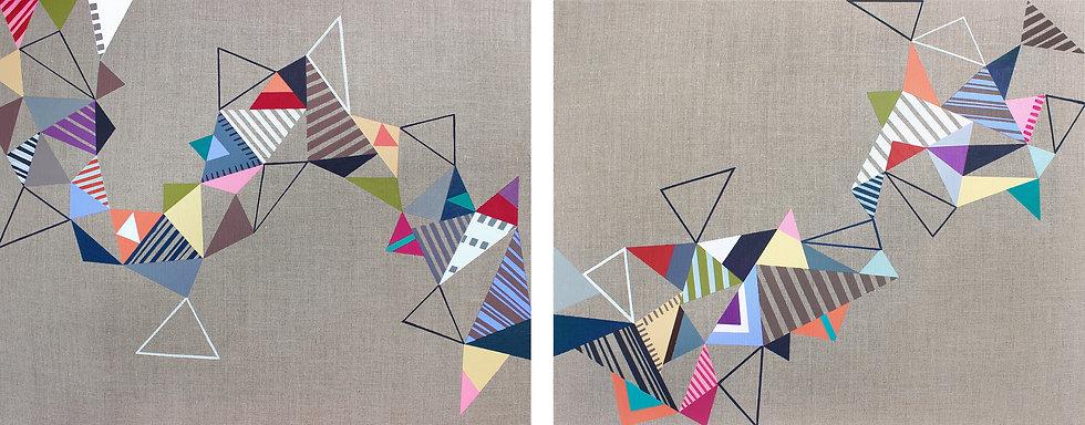 Trojúhelníky 9 / Triangles 9 / 60x150 cm / diptych