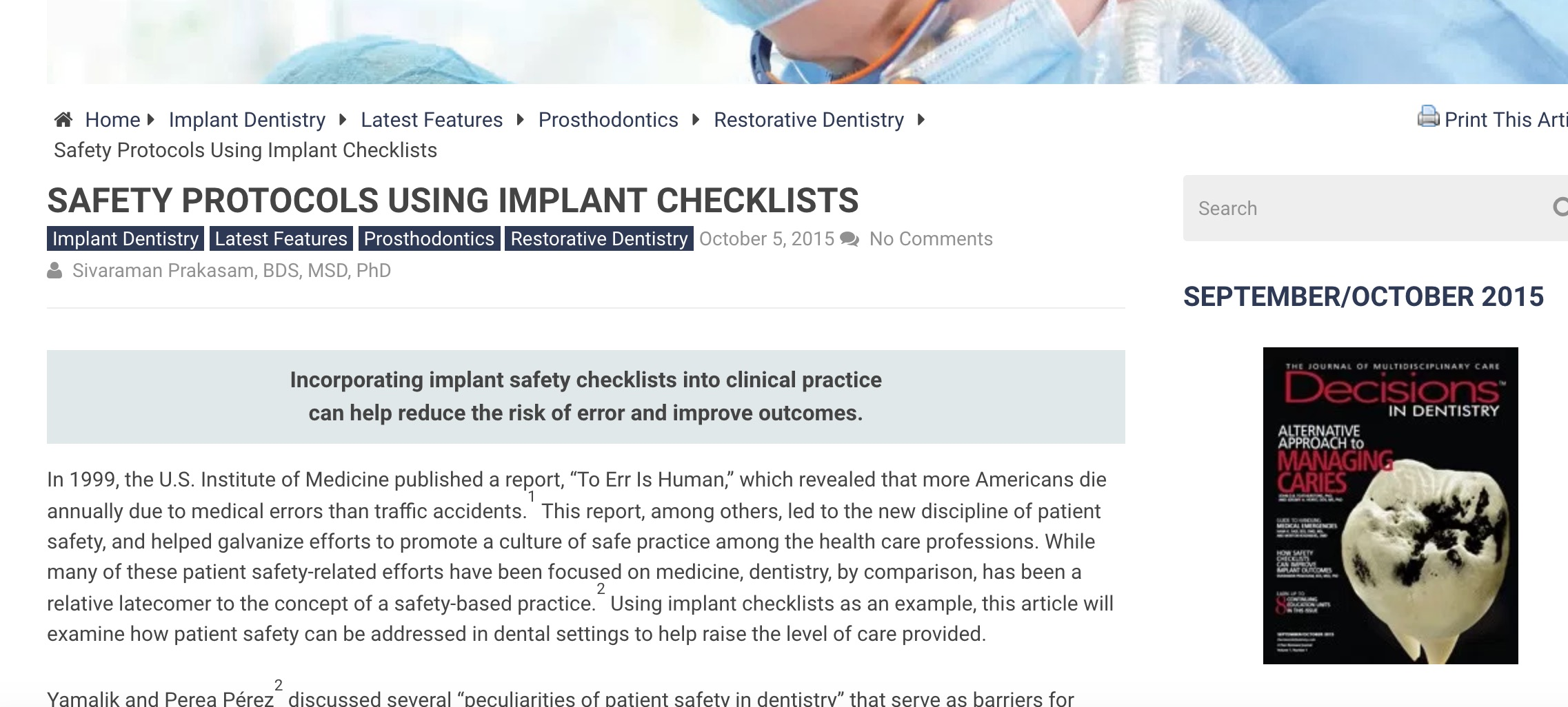 Implant check list article DID 2015