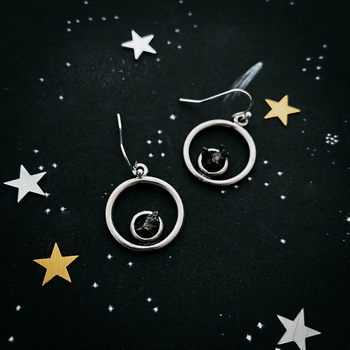 Circle Silver Earrings With Raw Meteorite