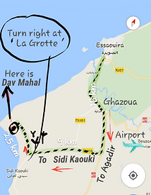 Map to Dav Mahl, La grotte, Surfers