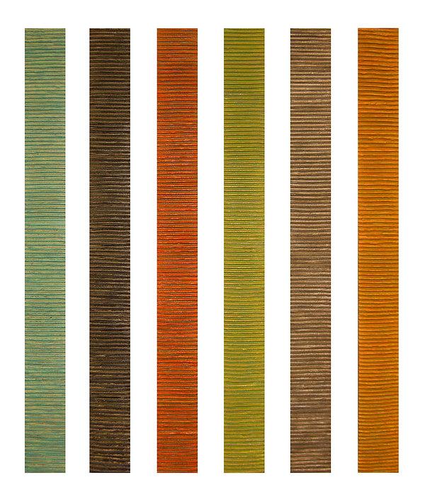 "Acrylic/Mixed Media on Canvas 3"" X 36"" each"
