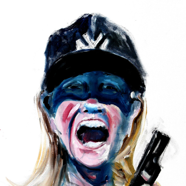 Self as Hillary with Yankees Cap