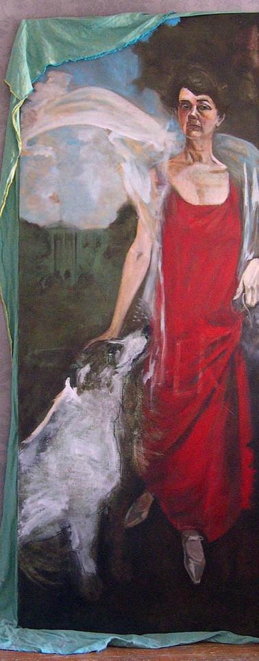 Self-portrait as Grace Coolidge, Spot as Rob Roy