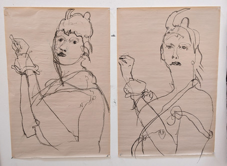 Self-portraits drawn with my hands tied (coping with Covid)