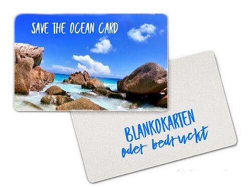 Save the OCEAN-CARD Weiß, recyceltes Plastik aus dem Meer, (100Stk)