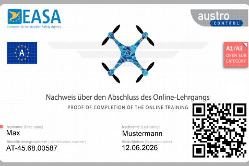 Drohnenführerschein auf Plastikkarte