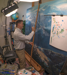 Studio painting of Mount Everest
