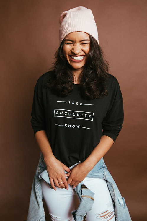 Seek Encounter Know | Black Unisex Long-Sleeved Tee