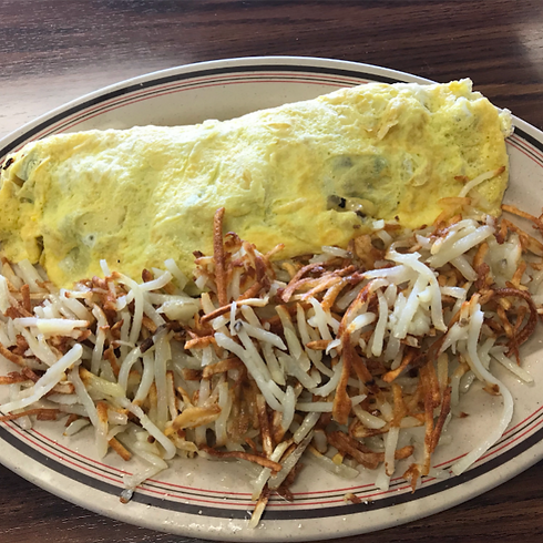 Travis Omlette and hashbrowns