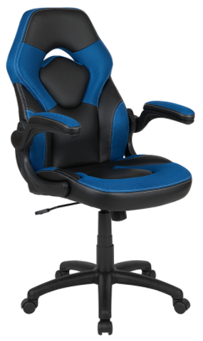 Blue Gaming Chair w Flip Up Arms