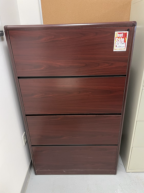 Clearance 4 Drawer Mahogany Lateral File