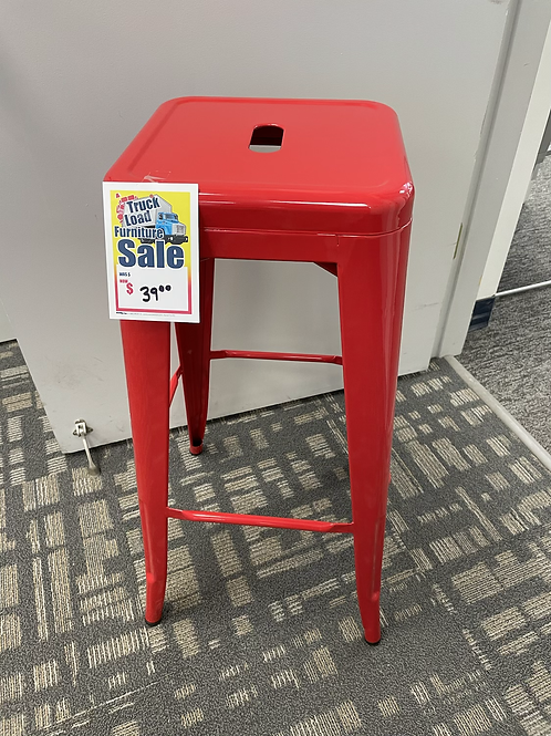 Red Metal Counter Stool