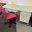 """Thumbnail: 55"""" x 26"""" Glass Top White Desk"""