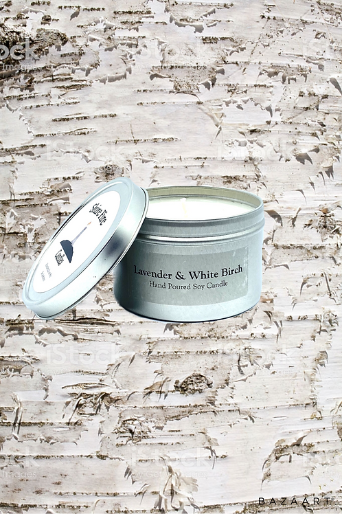Lavender & White Birch 8 oz Tin
