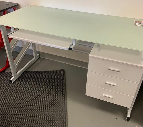 """55"""" x 26"""" Glass Top White Desk"""