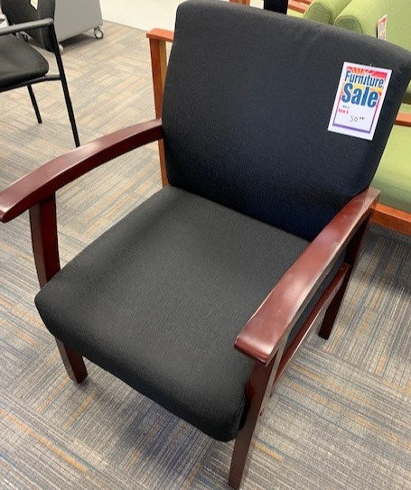 Side Chair Wood Arms Plush Seat