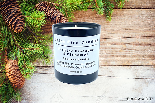 Frosted Pinecone & Cinnamon 11 oz Black Jar