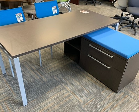 Desk and Blue Lateral File