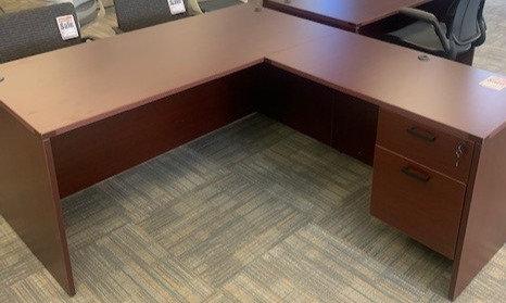 "66"" x 72"" L Shaped Mahogany Desk"