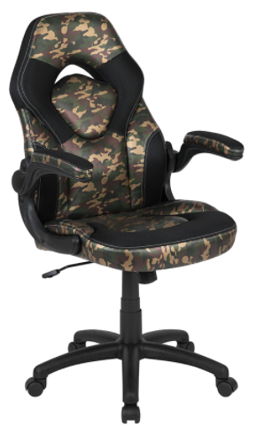 Camouflaged Gaming Chair w Flip Up Arms
