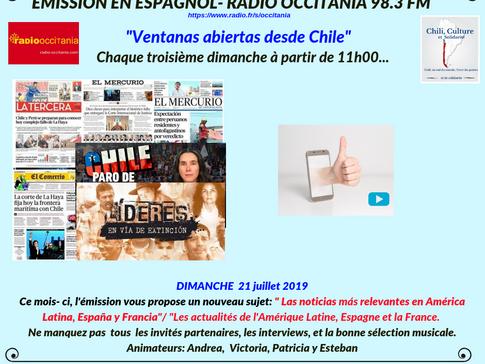 AGENDA DU MOIS DE JUILLET 2019