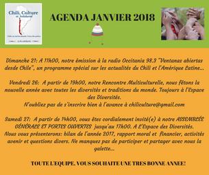 AGENDA DU MOIS DE JANVIER 2018