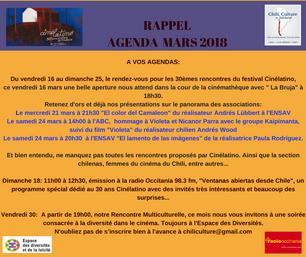 RAPPEL AGENDA DU MOIS DE MARS 2018