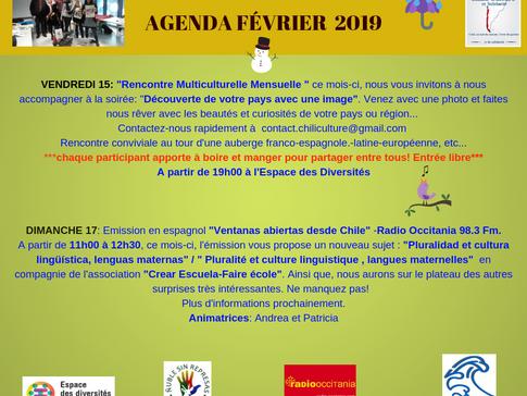 AGENDA DU MOIS DE FÉVRIER 2019