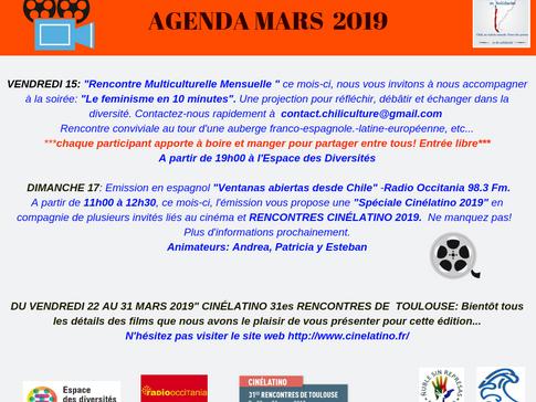 AGENDA DU MOIS DE MARS 2019