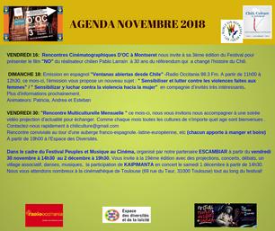 AGENDA DU MOIS DE NOVEMBRE 2018