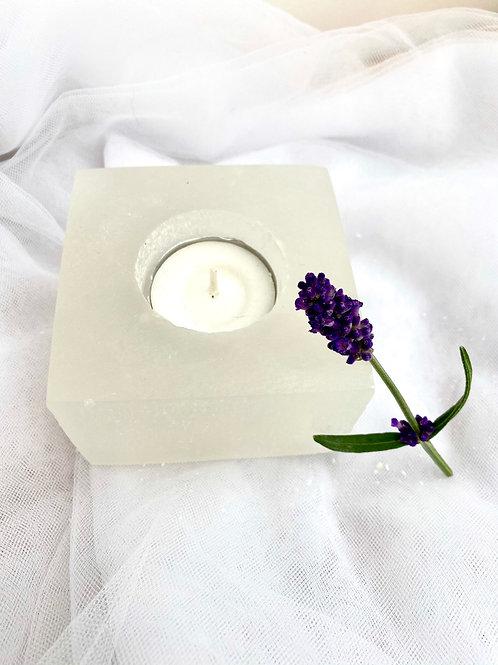 Selenite Square Tealight Holder