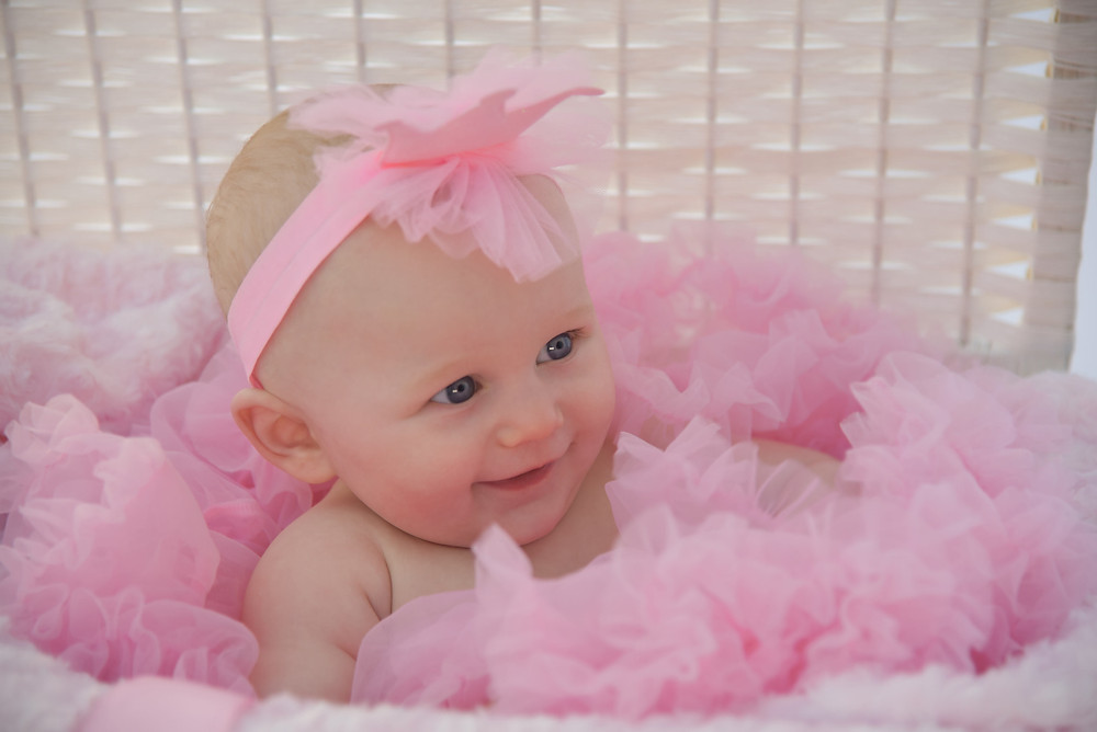 Baby girl in a white basket surrounded by pink net. Wearing a pink crown headband.