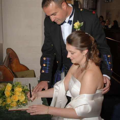 Wedding Day Signing the Register