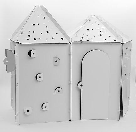 Cabane en carton à personnaliser - Tétragone avec les toits triangle + Pentagone